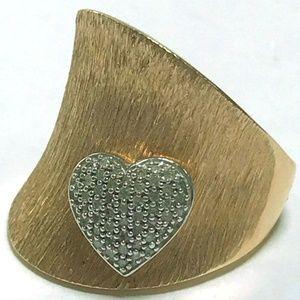 14K Plated Sterling Diamond Heart Ring. 8